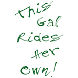 this gal rides her own scribbled lettering ladies motorcycle t-shirt design